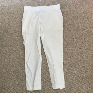Theory white linen pants